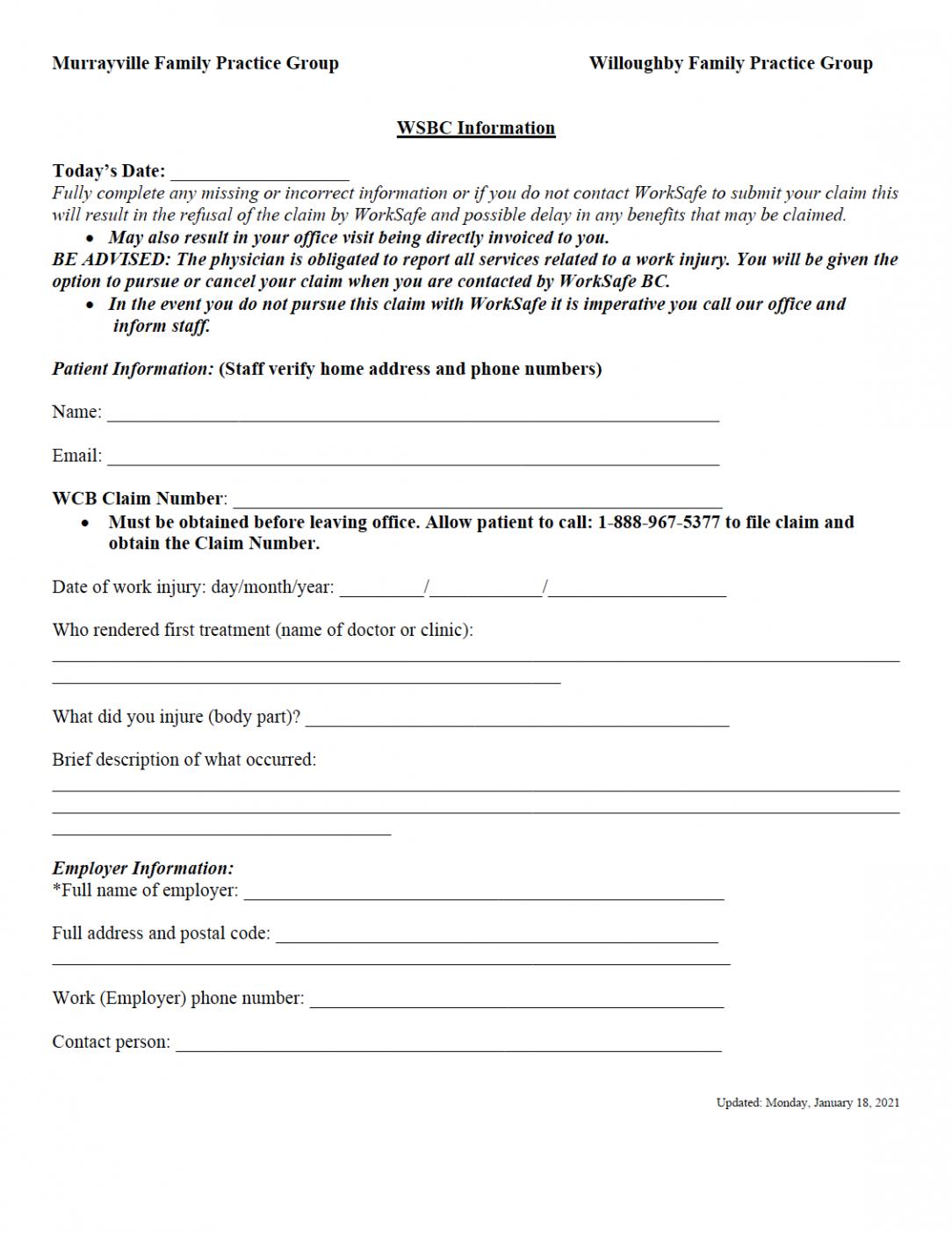 Worksafe Bc (WSBC) Patient Information